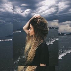 Dark brown to platinum blonde ombre hairstyle