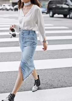 Not your typical denim skirt. This season we've been seeing a lot of raw hem cropped jeans that will transition through Spring and Summer. And with the new wave of denim skirts, these frayed hem are definitely a style win.      Wearing: RAMY BROOK Shirt (also love this sweater style) 7 FOR ALL MANKIND Denim ... waysify