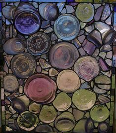 Stained glass by Kent Sandy Larsen - sun purple glass jug bottoms, some dating from the early 1900s