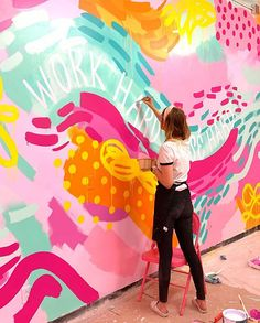 Murals street art - Totally in my element 💗🎨🖌I wish I could do this all the time maybe not everyday bc my 30 year old lady body is sore lol outtashape BUT… Murals Street Art, Graffiti Art, Mural Wall Art, Mural Painting, Kids Wall Murals, Paintings, Painting Inspiration, Art Inspo, Posca Art