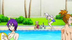 Gif Fairy Tail Natsu & Lucy swimming pool :D i love it