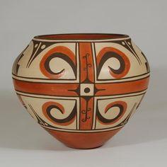 #adobegallery - Zia Pueblo Polychrome Olla with Creative Design. by Rachel Medina-Ratan (1961- ) Item # 25657