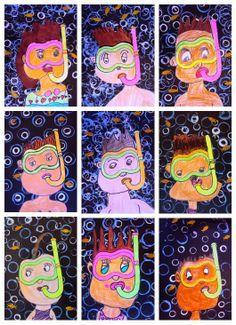 3rd Grade:  Snorkeling/ Swimming Self-Portraits, Printmaking, Mixed Media.