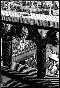 I feel like I should have known that Escher used Lino in some of his work. I feel cheated by his perfect cuts and preciseness of line. I love the perspective in this piece! And the way the line creates a 3D effect.