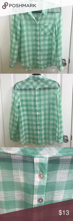 Mint green plaid shirt Super lightweight button up. Brand is Vintage Havana. Sz medium. 100% polyester. Buttons down front and back. Could be a great beach coverup too! Missing a button near the top but has an extra one included if you want to button up all the way. Also small pen mark under pocket that you might be able to get out if you're better at laundry than I am. Feel free to make a reasonable offer. Not sure what's reasonable? Check out the chart at the top of my closet ☺️ Vintage…