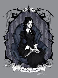 Wednesday Addams by IrenHorrors - Art - Artwork Arte Tim Burton, Estilo Tim Burton, Die Addams Family, Adams Family, Arte Horror, Horror Art, Illustrations, Illustration Art, Abigail Larson