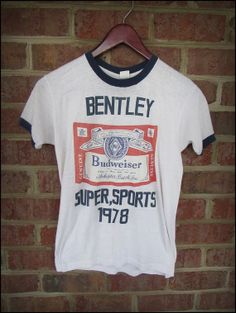Vintage Budweiser Bentley Super Sports Ringer Tee by CharchaicVintage, $15.00