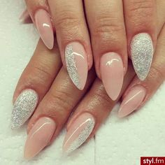 #nude #nails #prom #gliter #long