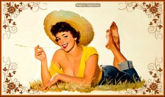 Pin-up: Con sombrero de paja