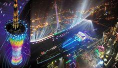 Guangzhou TV tower, the highlight of Haixinsha Island.  Guangzhou, China