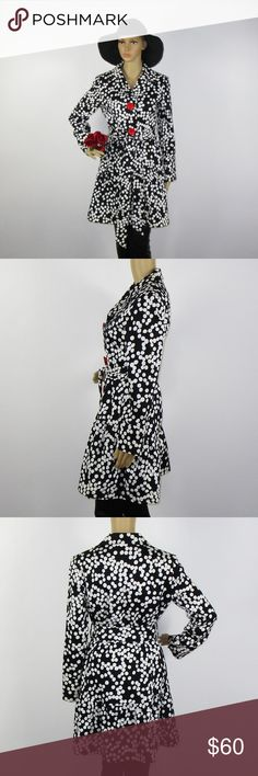 Sara Jane Anthro Black White Polka Dot Trench Coat This beautiful coat is in excellent condition! As always offers and bundles are welcome. Feel free to add one or more items to a bundle for a private discount offer!!!  Armpit to armpit is 17.5 inches across Sleeve length is 23.25 inches Waist is 14 inches across Hips are 15.5 inches across Length is 34.5 inches Sara Jane Jackets & Coats Trench Coats