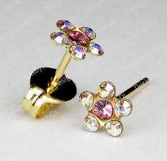 Studex Sensitive Earrings Rainbow Crystal 5.5mm Daisy Pink Center Gold Stud