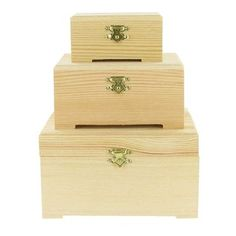 "%0A%09Wood Box Set of 3 in a natural finish, plain in decoration with brass fixtures. %0A %0A%09Box sizes: %0A %0A%09 %0A%09%09Large - 5 7/8"" x 4 3/4"" x 3 1/4"" %0A%09 %0A%09%09Medium - 4 7/8"" x 3 1/2"" x 2 3/8"" %0A%09 %0A%09%09Small - 3 1/2"" x 2 3/8"" x 1 3/4"" %0A %0A %0A%09Note: This product is sold as a set only; we are not able to break up the sets. The individual box sizes are not available to purchase separately. %0A"