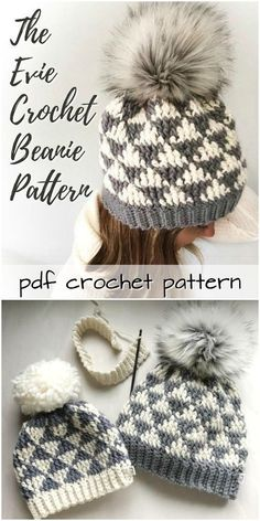 Super cute geometric pattern on this Evie Crochet Beanie pattern Perfect to make for Christmas gifts crochet pattern crochetpattern crochethat hat beanie toque handmadegifts handmadegiftideas giftideas crafts yarn pompom Bonnet Crochet, Gilet Crochet, Crochet Beanie Pattern, Crochet Amigurumi, Crochet Scarves, Crochet Patterns, Crocheted Hats, Hat Patterns, Pattern Sewing