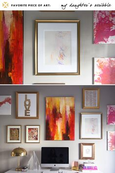 Such a bold, feminine collection of art. Obsessed with the colors and the frames, and REALLY obsessed with the vintage brass mushroom lamp.
