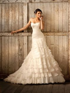 Royal Organza and Lace Fit and Flare Wedding Dress by charmaine (If I was 10 feet tall...)