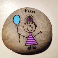"25 Likes, 7 Comments - Helena Stilling (@heartmadestoneart) on Instagram: ""#artrocks #balloon #cute #drawing #girl #girlwithballoon #happy #fun #hobby #happyrocks #love…"""