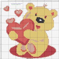 Teddy bear with heart x-stitch