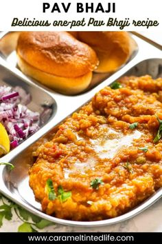Indian street food Pav Bhaji recipe is made in under 30 minutes in an Instant Pot or Pressure cooker. A vegetarian Indian recipe, which can be made vegan as well. #pavbhaji #indianstreetfood #pav #bhaji #vegan #indian #curry #pavbhaji Low Calorie Vegetarian Recipes, Vegan Indian Recipes, Vegan Recipes, Best Instant Pot Recipe, Instant Pot Dinner Recipes, Vegetable Pulao Recipe, Bhaji Recipe, Curry Recipes, Rice Recipes