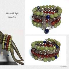 Boho Chic Multi-strand Memory Wire Bracelet -- Taiwan Jade, Carnelian, Lapis Lazuli and Red Snowflake gemstones