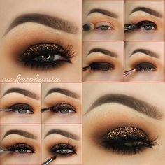 Dark Brown Smokey Eye Tutorial with a Pop of Copper Glitter
