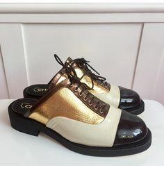 910894249370 Chanel Gold Black Cuba White Ivory Oxford Cap Toe Oxfords 36.5 Mules Slides  Size US 6.5 Regular (M