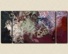 Large abstract expressionism triptych stretched canvas print, 30x60 to 40x78 in…