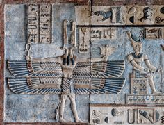 [EGYPT 29574]<br /> 'West wind on astronomical ceiling at Dendera.'<br /> <br /> Holding a little sail in his hand, a double winged creature with two snake heads personifies the west wind on the astronomical ceiling in the outer hypostyle hall of the Hathor Temple at Dendera. Wind figures such as these only appear in Egyptian monuments of the Greek-Roman period.<br /> The astronomical ceiling consists of seven separate strips but here we are looking at a detail of the upper register of the…