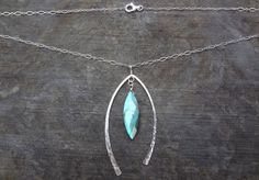 Labradorite and hammered sterling silver wishbone necklace by ARTdesignsbyannart, $67.00
