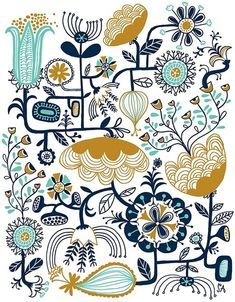 Color | Flower illustration // #teal #blue #gold