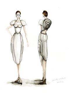 Watercolour fashion illustration - fashion design drawings; dress sketch // Jiayin Li