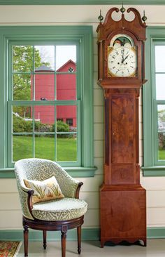 green trim & grandfather clock