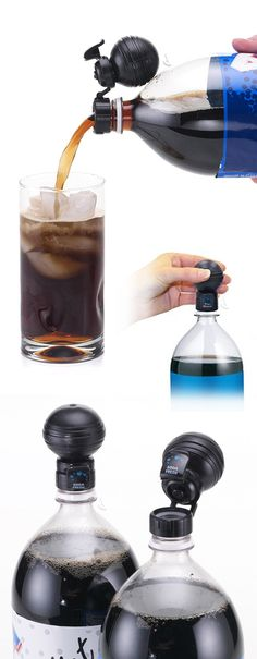 Simply replace soda cap with the Soda Fresh bulb cap and gently squeeze to preserve fizz. Unique flip-top lid allows you to pour soda without removing the bulb #product_design