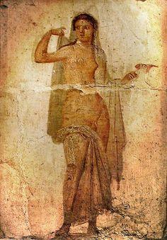 A #Roman #fresco of Hermaphroditus from #Herculaneum