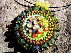 Iveta Linde Cabochon, Embroidery Pendant Bead by KristinesBeads