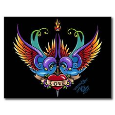 Shop Eternal Love Rainbow Swallow Tattoo Postcard created by mykajelina. Personalize it with photos & text or purchase as is! Tattoo Posters, Tattoo Fonts, Swallow Tattoo, Swallow Bird, Art Trading Cards, Tattoo Signs, Love Rainbow, Eternal Love, Diamond Art