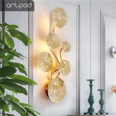 Modern Wrought Iron Lotus Leaf Wall Hanging Crafts Wall Decoration Livingroom Sofa Background Wall Sticker Mural Ornaments Art| | - AliExpress Wall Mounted Lamps, Hanging Wall Art, Wall Sconces, Wall Art Decor, Wall Lamps, Home Lighting, Chandelier Lighting, Appliques Murales Vintage, Sofa Set Designs