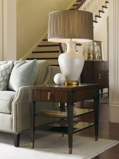 Tropez Rochelle End Table in Rich Walnut Brown - - Lowest price online on all Lexington St.Tropez Rochelle End Table in Rich Walnut Brown - Living Room End Tables, Entryway Tables, Tiffany Table Lamps, Lexington Home, Home Board, Living Room Interior, Home Furnishings, Living Spaces, Living Rooms