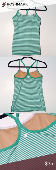 Lululemon Power Y Tank Green/ white power Y tank. Good condition. Never dried. Size 6. No trades. lululemon athletica Tops Tank Tops