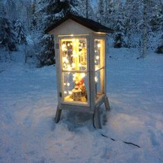Old windows to garden lantern.