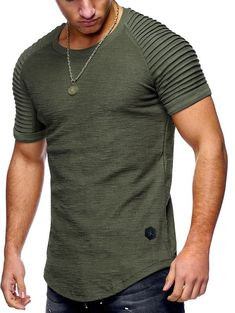 Pleated Sleeve Curved Hem T-shirt - Camouflage Green - 3370930019 Size S Cheap T Shirts, Casual T Shirts, Cool T Shirts, Men Casual, Cool Outfits For Men, Mens Clothing Sale, Men's Clothing, Shirt Packaging, Packaging Design