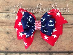 Nautical hair bow headpiece on clip