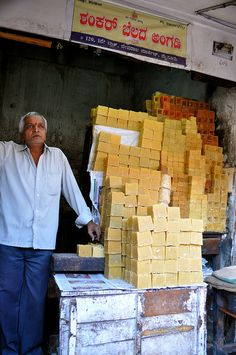 Selling Jaggery (sugar blocks) - Devaraja Market, Mysore, India #milan #Expo2015 #WorldsFair #sugar #market