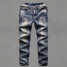 Mens Retro ripped jeans mens solid Washing denim jeans new Korean style casual trousers stretch man denim pants100% Cotton 2016