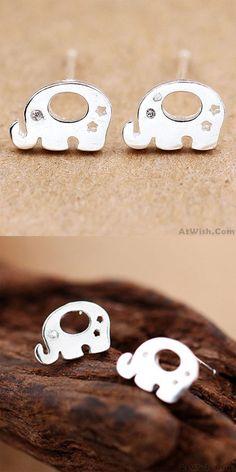 Cute Animal Earring Studs Women Silver Elephant Earrings Studs for big sale ! #elephant #earrings #studs #women #animal #cute