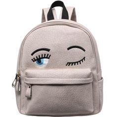 Grey Eyes Pattern PU Backpack (209.870 IDR) ❤ liked on Polyvore featuring bags, backpacks, grey, rucksack bags, print backpacks, gray bag, knapsack bag and polyurethane bags