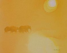 5pm, acrylic on canvas, US$580 excluding shipping. African elephants. In the dry season the sun retains its heat until the last possible moment.  Artist Alison Nicholls © 2014 www.ArtInspiredbyAfrica.com