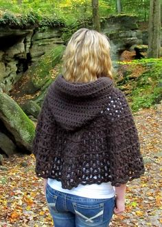 The new Wildwood Capelet is a shawl-style capelet with a rounded hood in soft and chunky crochet. The hood has a rounded design and ut...