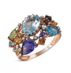Кольцо с 8 бриллиантами, 0.03 карат; 2 аметиста, 0.65 карат;3 топаза, 2.88 карат;3 цитрина, 0.20 карат;2 граната синтетических, 0.12 карат;2 хризолита, 0.30 карат; Розовое золото 585 пробы. 11579