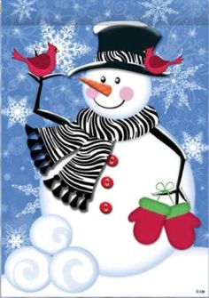"New for 2012. Snowman in Zebra Scarf by Custom Decor. This flag features the most trend setting snowman dressed in a zebra scarf. There is a snowflake background. Custom Decor takes original artwork and reproduces it on 300 denier polyester fabric. The outdoor decorative flag measures 12"" x 18"" and is sleeved to go on a standard garden pole. The flags are permanently dyed and are fade and mildew resistant..."